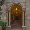 Side door of Royce Hall, I used exposure bracketing and blending to light up the dark hallway.