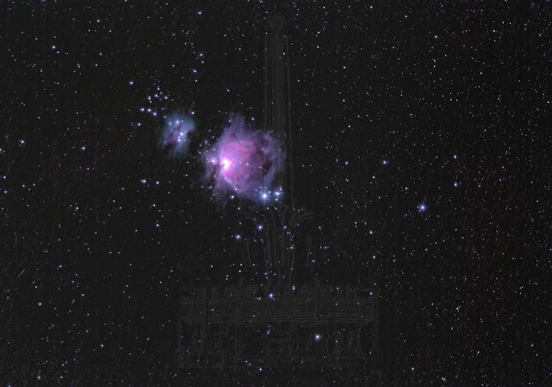 Great Orion Nebula and Running Man Nebula(LRGB processing)