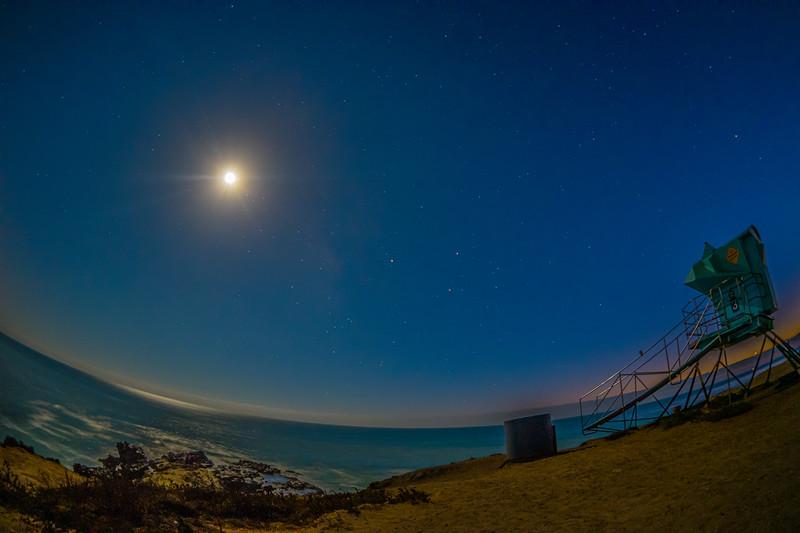 Moonlit night at Leo Carrillio State Beach