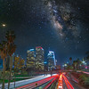 Milky Way with traffic light trace.
