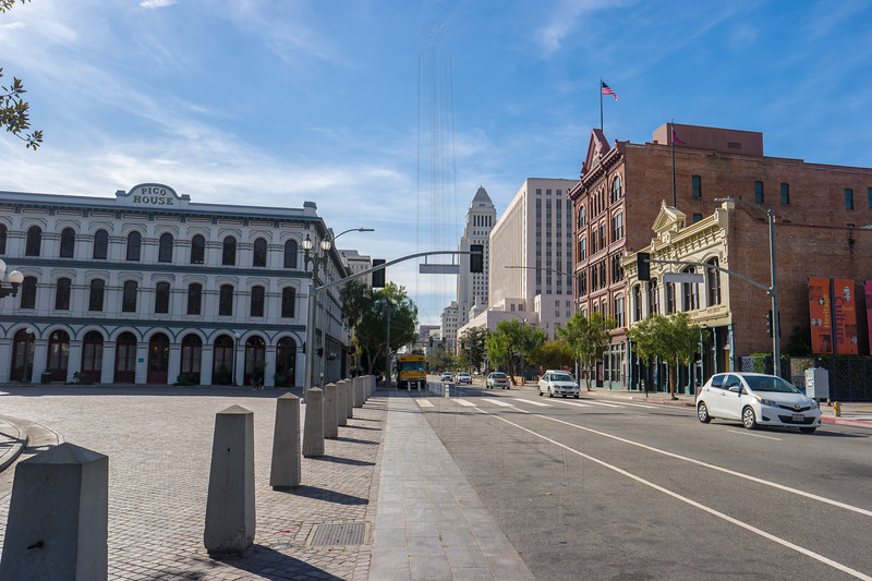 Pico House and the Brunswick Drug bruilding.