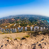 Fisheye view of the back of the Hollywood Sign