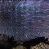 Zoom effect centered on Polaris at Fossil Falls.