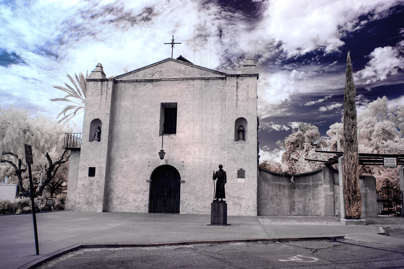 Mission San Gabriel chapel in infrared.