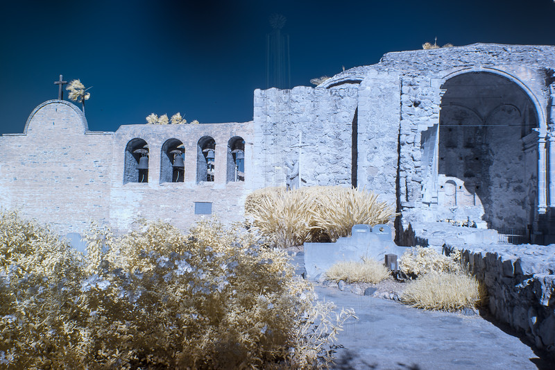 """The Great Stone Church"" and the four-bell campanario in infrared."