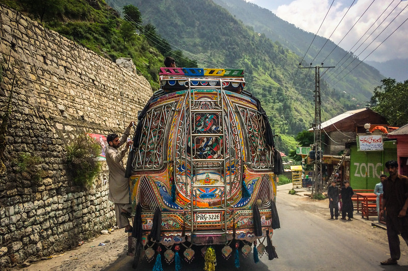 The back of a colorful Pakistani bus.
