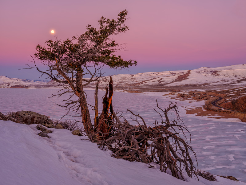 """Worm Moon Setting on Blue Mesa"" Gunnison, Colorado"