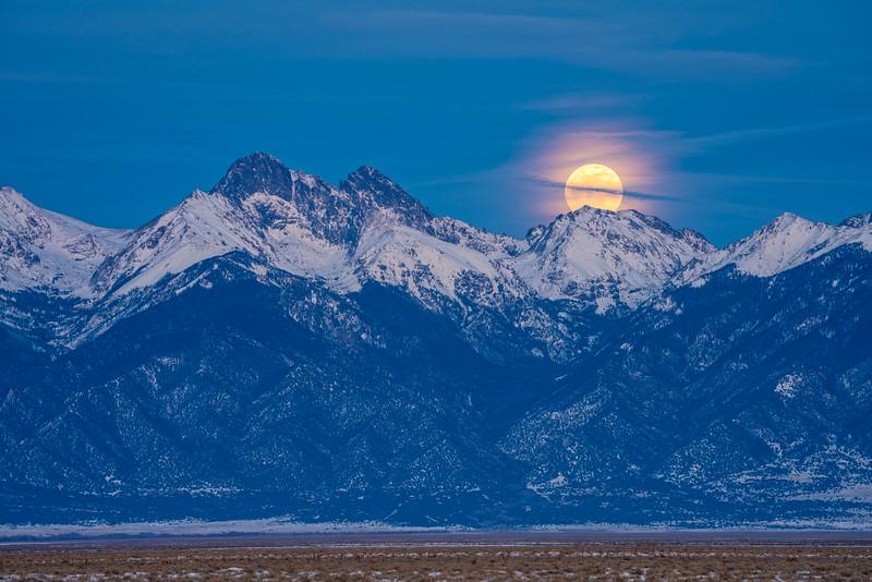 """""""Super Wolf Blood Moon rising over the Sangre De Cristo Mountains"""" Colorado"""