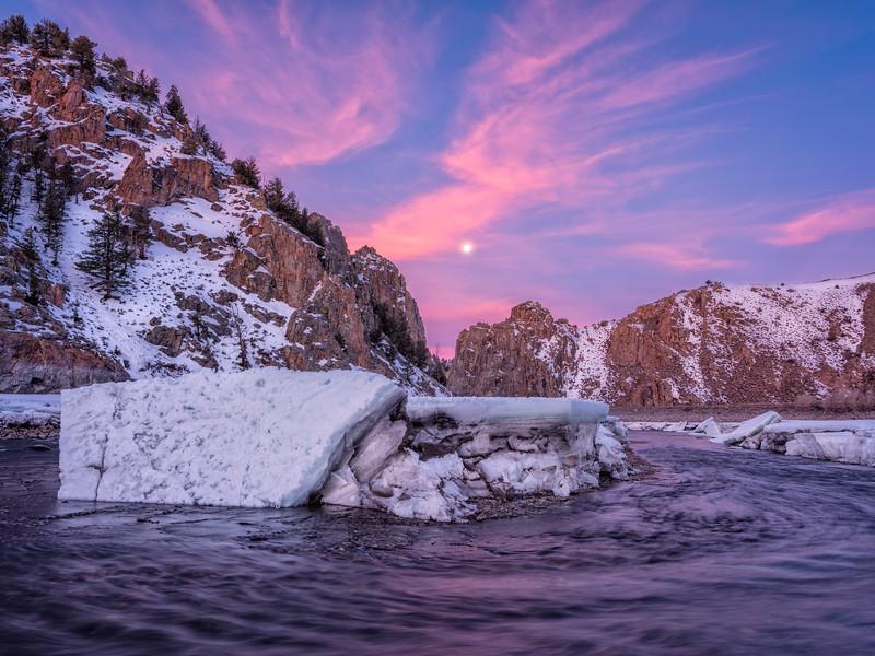 """The Worm Moon Setting on the Gunnison River Canyon"" Gunnison , Colorado"