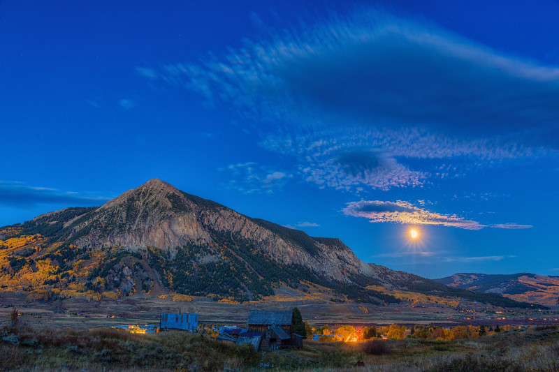 """The Harvest Moon Eclipse Rising over Mount Crested Butte"" Crested Butte, Colorado"