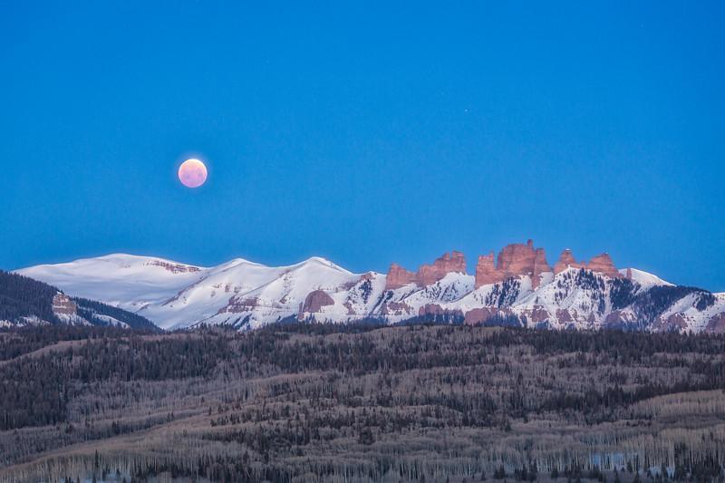 """""""Moon Eclipse over Castles"""" Ohio Creek, Colorado"""