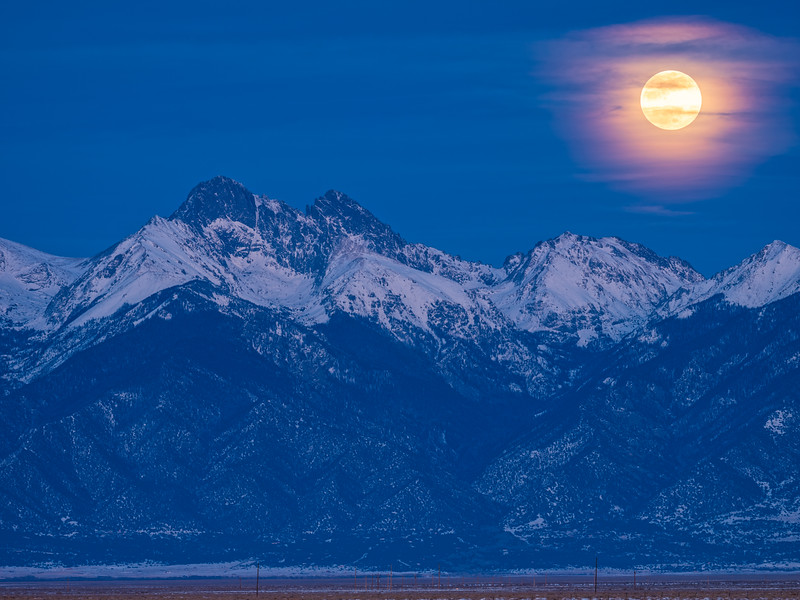 Wolf Moon over the Sangre de Cristo Colorado