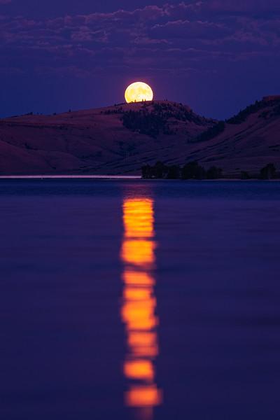 """Moon Rise over water"", Blue Mesa Reservoir, Gunnison, Colorado"