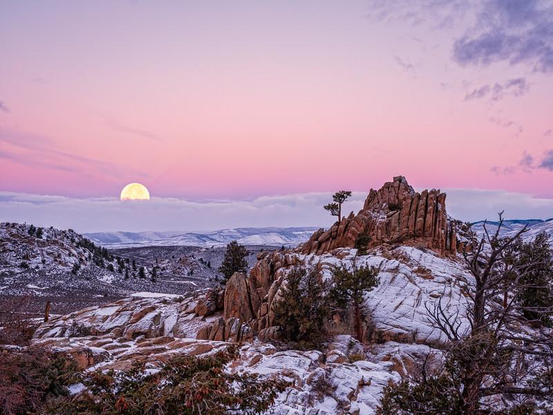 """Full Beaver Moon Setting over Hartman Rocks"""
