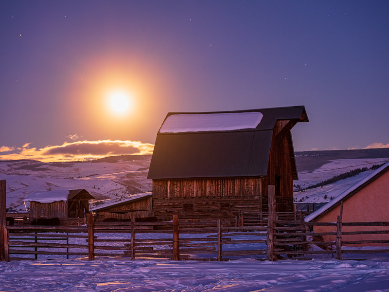 """Mist, Moon and barn"", Gunnison, Colorado"