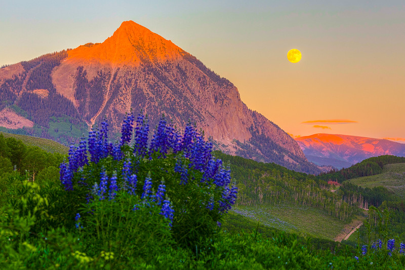 """Full Moon Rising over Mount Crested Butte"" Crested Butte, Colorado"