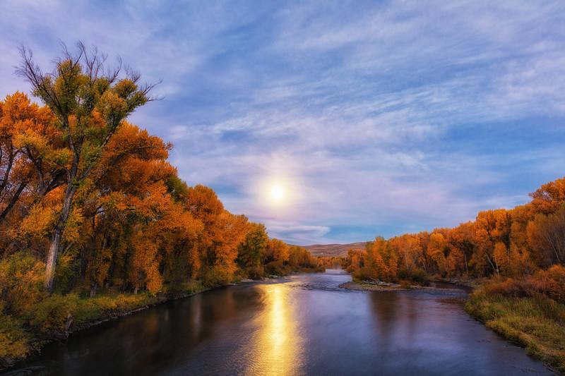 """Harvest Moon Setting on the Gunnison River"" Gunnison, Colorado"