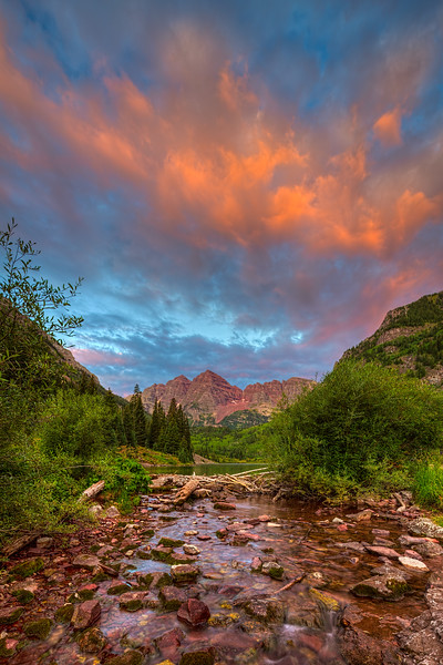 """The Sky on Fire over the Maroon Bells"" Aspen, Colorado"