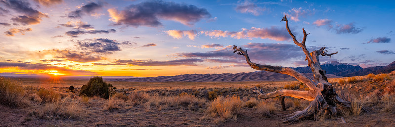 """The Sun Setting on the Great Sand Dunes"" Great Sand Dunes NP, Colorado"