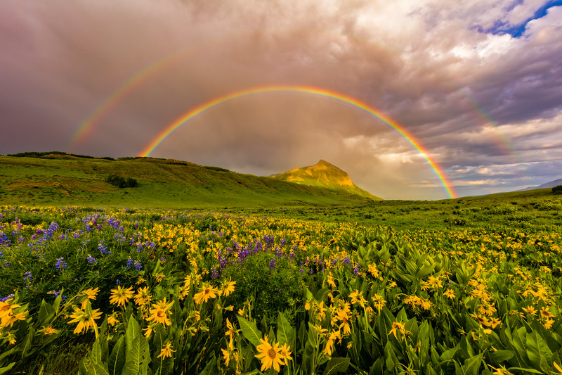 """Double Rainbow over Mt Crested Butte"" Crested Butte, Colorado"