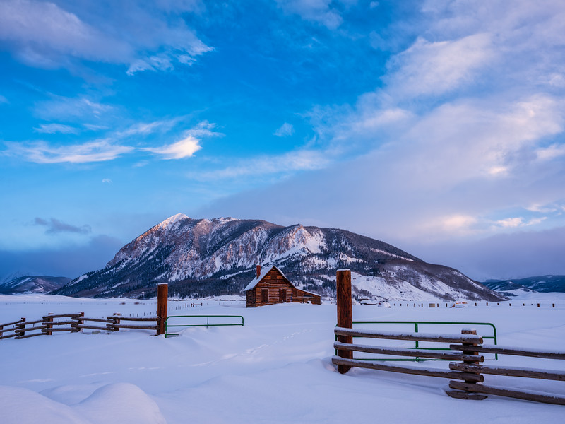 """Cabin and Mt Crested Butte"", Crested Butte, Colorado"
