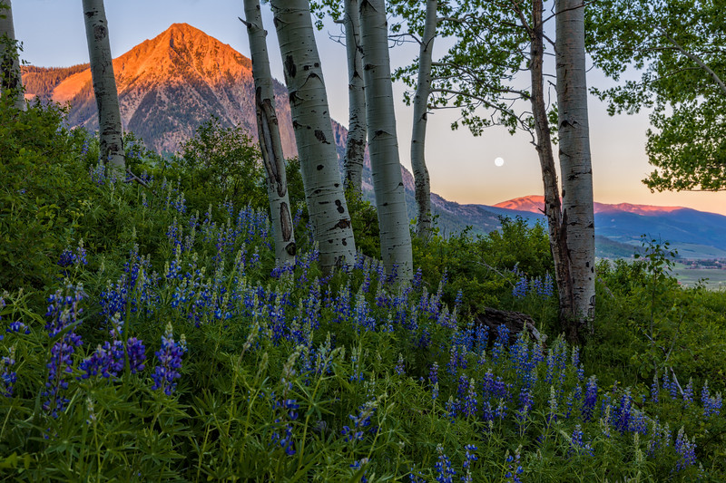 """Windy Solstice Moon rising over Mount Crested Butte"" Crested Butte, Colorado"