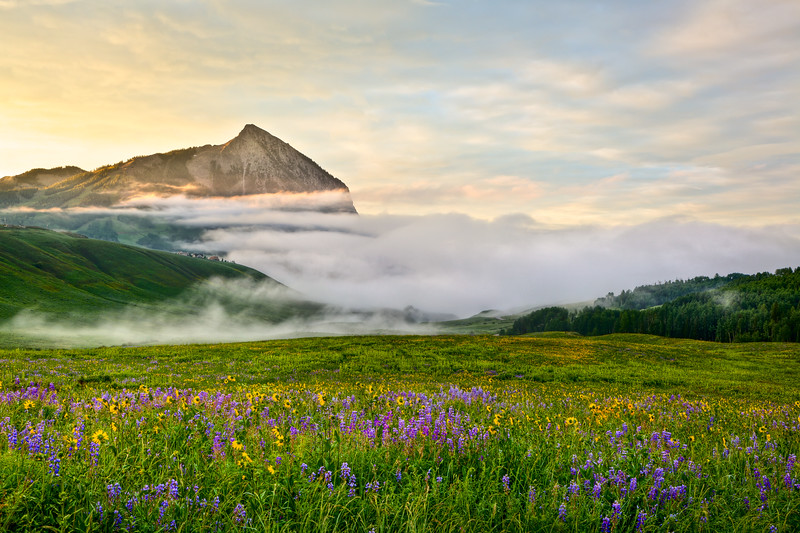 """Mt Crested Butte in the Mist"" Washington Gulch, Colorado"