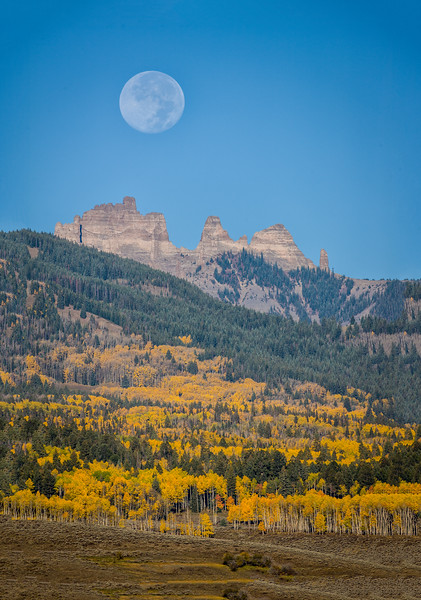 """Setting Blue Moon over the Castles"" Ohio Creek, Colorado"