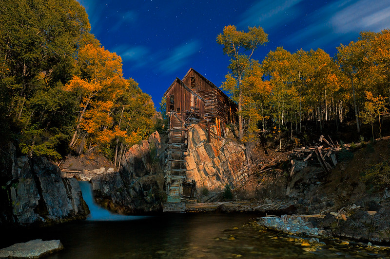 """Crystal Mill Moonset"" Crystal, Colorado"