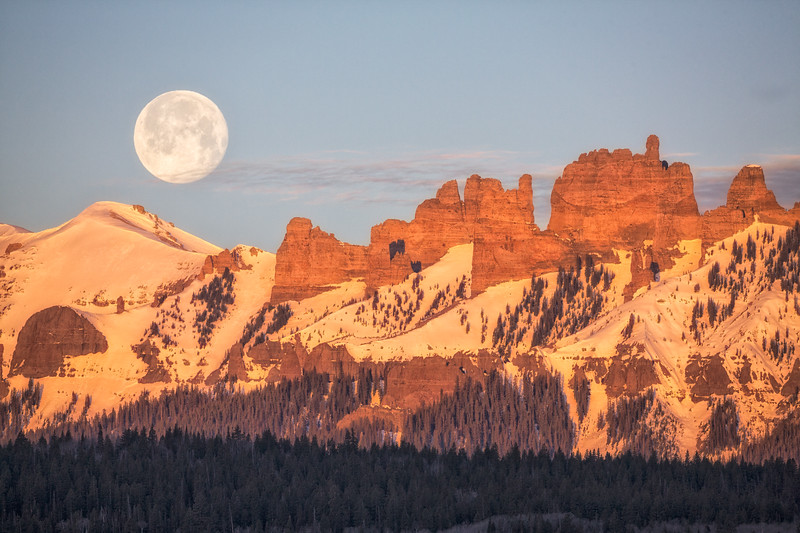 """The Flower Moon Setting on the Castles"" Ohio Creek, Colorado"