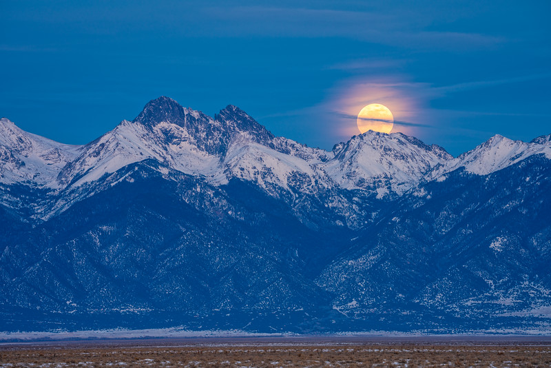 """Super Wolf Blood Moon rising over the Sangre De Cristo Mountains"" Colorado"