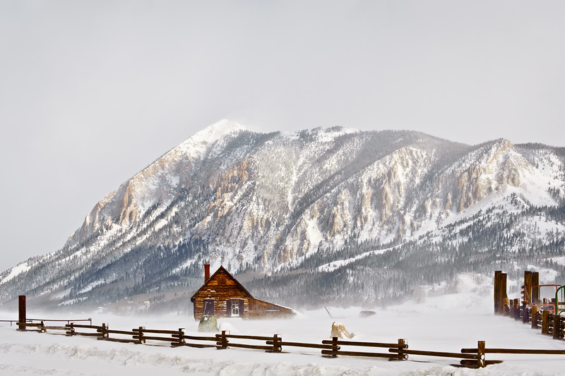"""Log Cabin in Winter Storm"" Mount Crested Butte, Colorado"