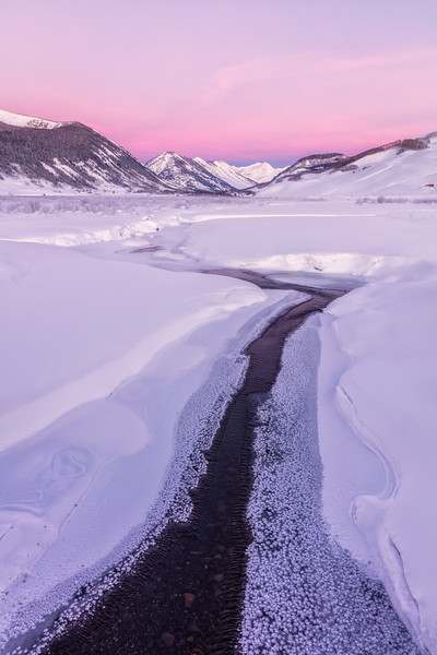"""The Slate River Meandering through the Snow"" Crested Butte, Colorado"
