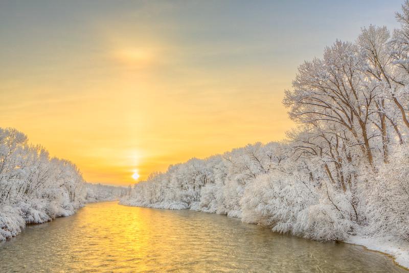 """""""Spring Snow on the Gunnison River"""" Gunnison, Colorado"""