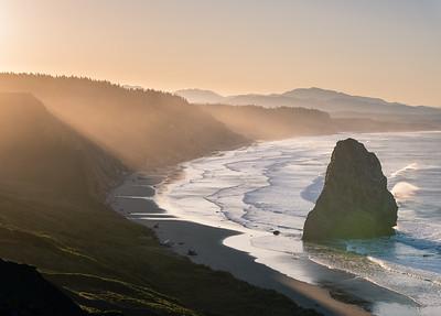 Sunrise thru the mist, Cape Blanco, Oregon Coast.
