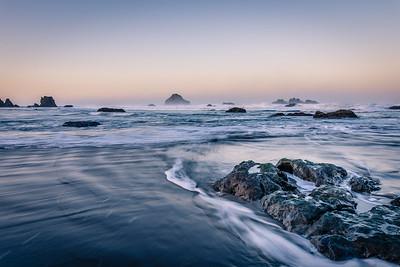 Ebb tide at dawn, Bandon, Oregon.
