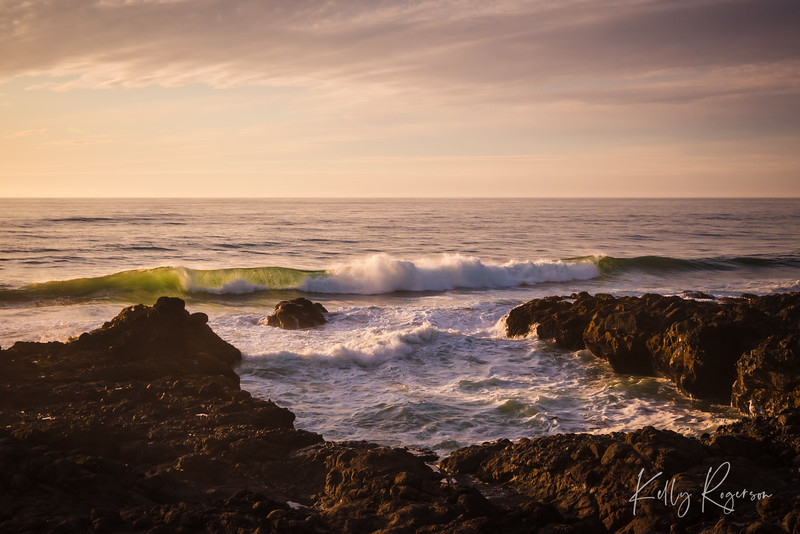 Crashing waves along the Oregon Coast near Yachats, Oregon.