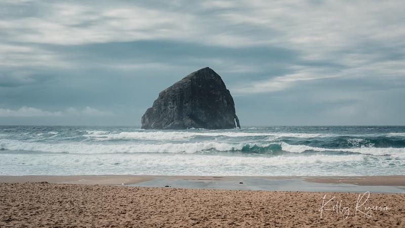 Cape Kiwanda on the Oregon Coast during a cloudy day.