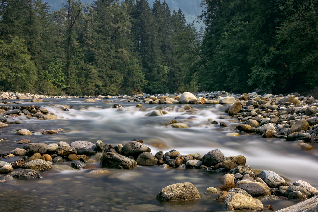 The Coquihalla River near Hope, BC.  The water level is low this summer; it has been very dry this year.