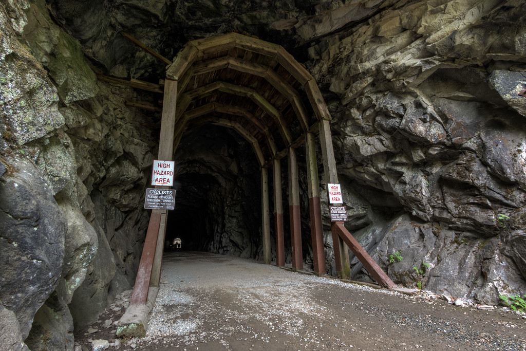 The old railroad at the Othello Tunnels near Hope, BC.  This is the first tunnel nearest to the parking lot.