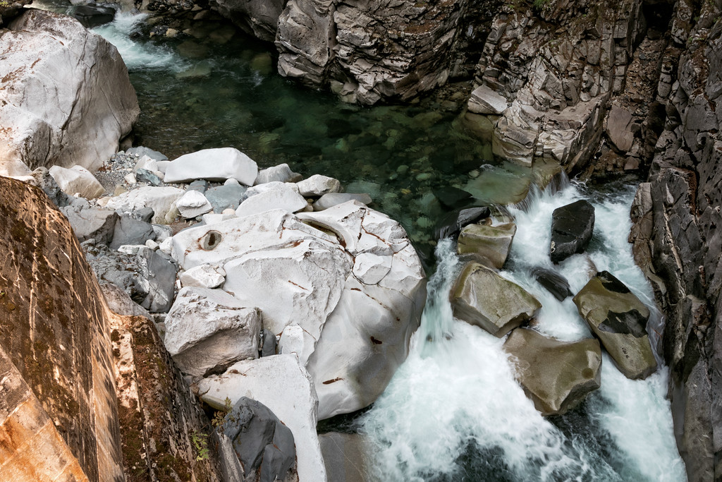 Some rapids and huge boulders in the Coquihalla River near Hope, BC.