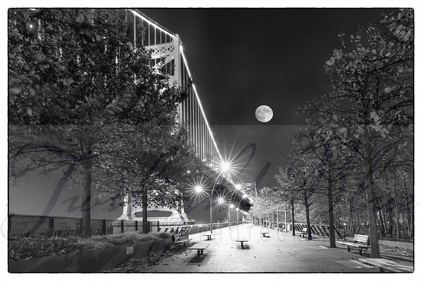 Super Moon Over Race Street Pier b+w