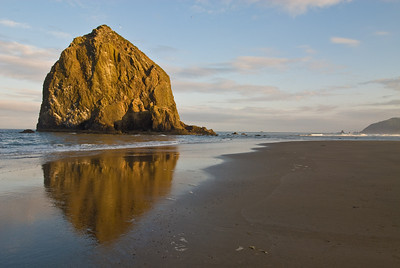 Reflection of Haystack Rock, Cannon Beach, Oregon.