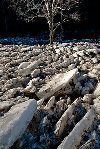 Ice jam at Taughannock Falls State Park just north of Ithaca, New York