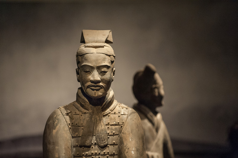 A beautiful display of four terracotta soldiers from the Qin Emperor's burial complex on loan from Xi'an, China to the Asian Art Museum (San Francisco, CA, US - 04/26/13, 2:50:12 PM)
