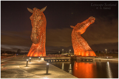 The Kelpies, Helix Park, at dusk (4)