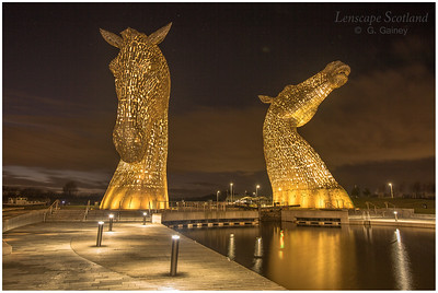 The Kelpies, Helix Park, at dusk (3)