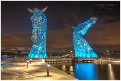 The Kelpies, Helix Park, at dusk (2)
