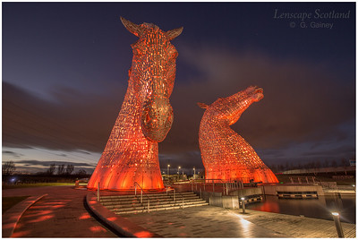 The Kelpies, Helix Park, at dusk (1)