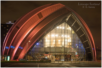 Scottish Exhibition Centre (the Armadillo) illuminated at dusk (2)